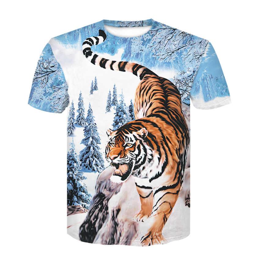2020 Nieuwe Tijger T-shirt Mannen/Vrouwen 3D Afdrukken Leeuw Tijger Hiphop Cartoon T-shirt Zomer Jas T-shirt fashion Grappige T-shirt