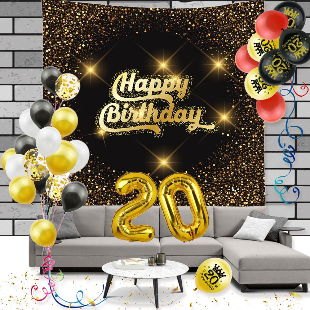 Adult <font><b>20th</b></font> <font><b>Birthday</b></font> Party <font><b>Decorations</b></font> Gold 20 Balloon 12'' Latex Confetti Ballon Happy <font><b>Birthday</b></font> Tapestry For Anniversary Decor 5 image