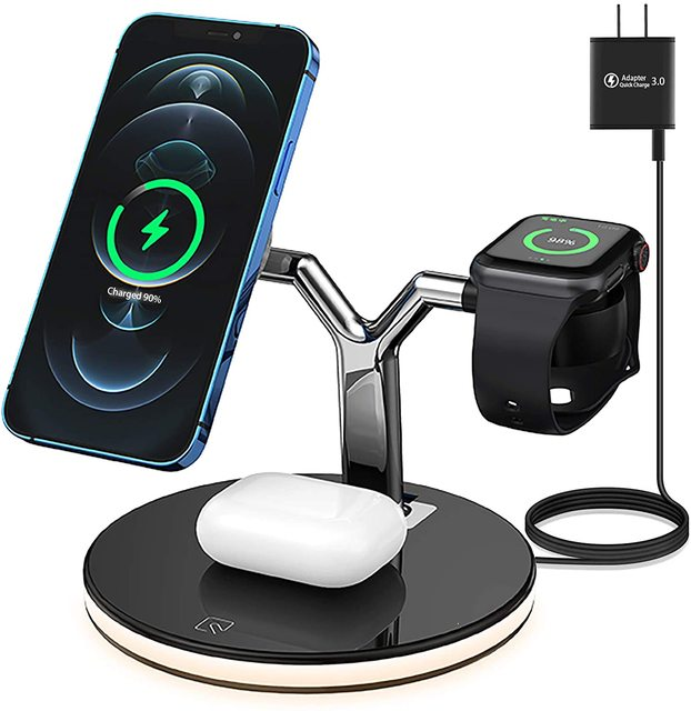 25W 3 in 1 Magnet Qi Fast Wireless Charger For Iphone 12 Mini Pro MAX Charging Station For Apple Watch 6 5 4 3 2 1 AirPods Pro