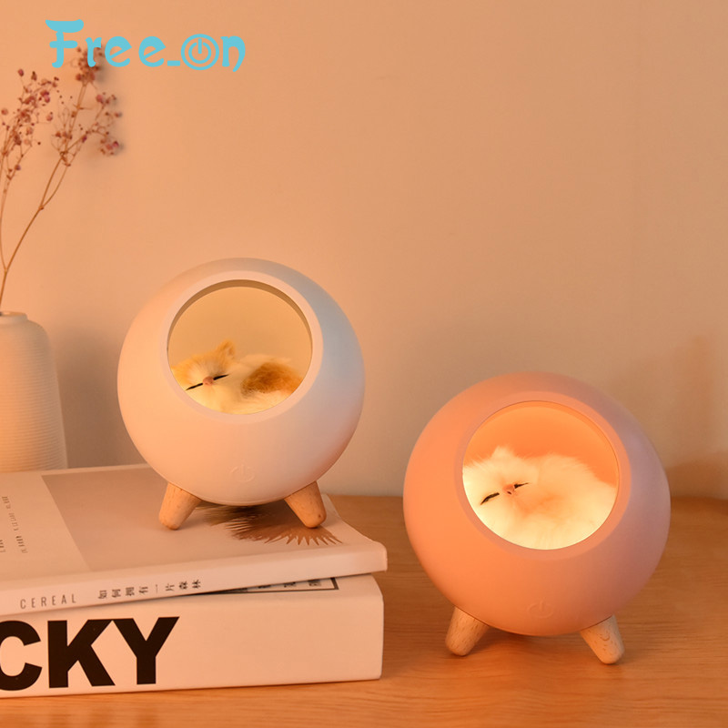Free_on Cute Cat House Touch Dimming LED Night Light  Kid Baby Bedroom  Indoor Study Bedside Decoration Creative Gift Table Lamp