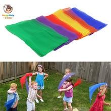 Happymaty 6pcs Children gymnastics scarves for outdoor game toys Kids Child parent interactive handkerchief educational