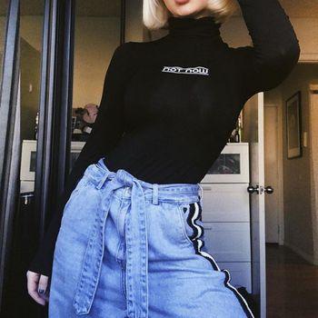 Fashion Letter Print T-Shirt Slim Turtleneck Long Sleeve Jumpsuit Spring Women Bottoming Solid Color Slim Top Romper 7