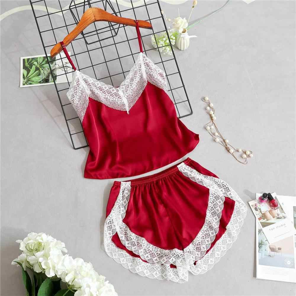 새로운 잠옷은 여성을위한 섹시한 레이스 잠옷을 설정합니다 v-목 Pijama Femme 여름 잠옷 새틴 스트랩 느슨한 Nightwear 란제리 여성