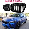 Глянцевый черный передний бампер, решетка-гриль для BMW X1 F48 F49 2016 2017 2018 2019 2020 XDrive, двойная линия M style