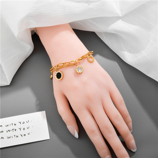 Luxury Famous Brand Jewelry Rose Gold Stainless Steel Roman numerals Bracelets & Bangles Female Charm Bracelet For Women 3