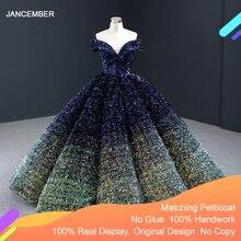 J66991 Jancember formel longue robe de soirée pailletée 2020 avec manches courtes chérie hors de lépaule