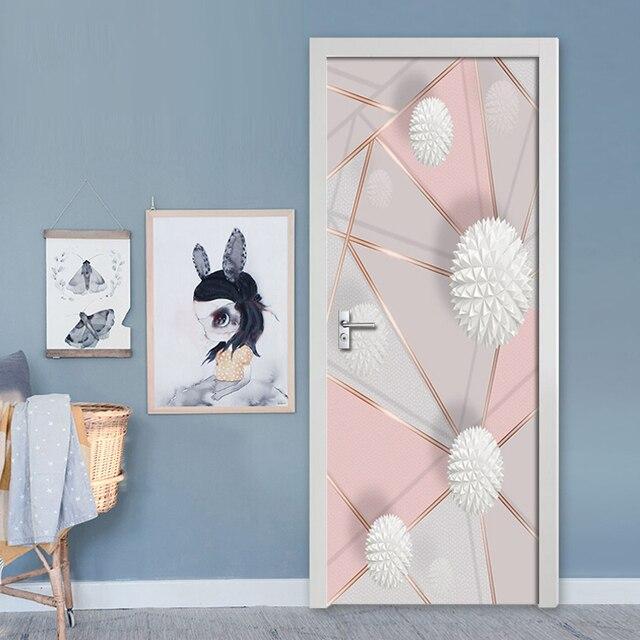 Купить съемные дверные наклейки 3d геометрические мраморные строчки картинки цена