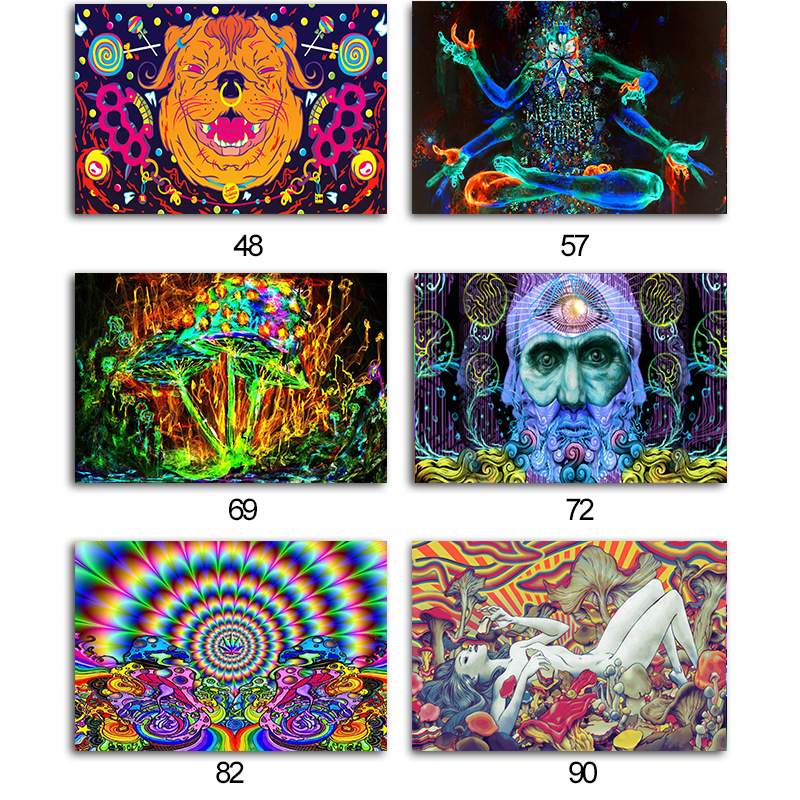 Super Cool Psychedelic Trippy Art Silk Fabric Poster Print Abstract Pictures For Living Room Bed Room Wall Picture Home Decor