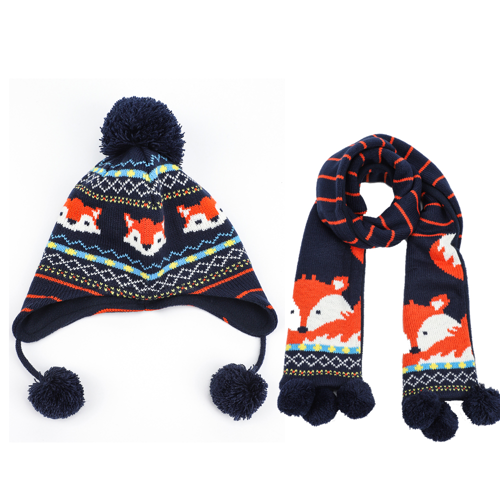 Earflap Hat Scarf Set Boy Kid Winter Autumn Beanie Cap Fox Animal Pompon Fleece Warm Skiing Accessory Baby Toddler Outdoor