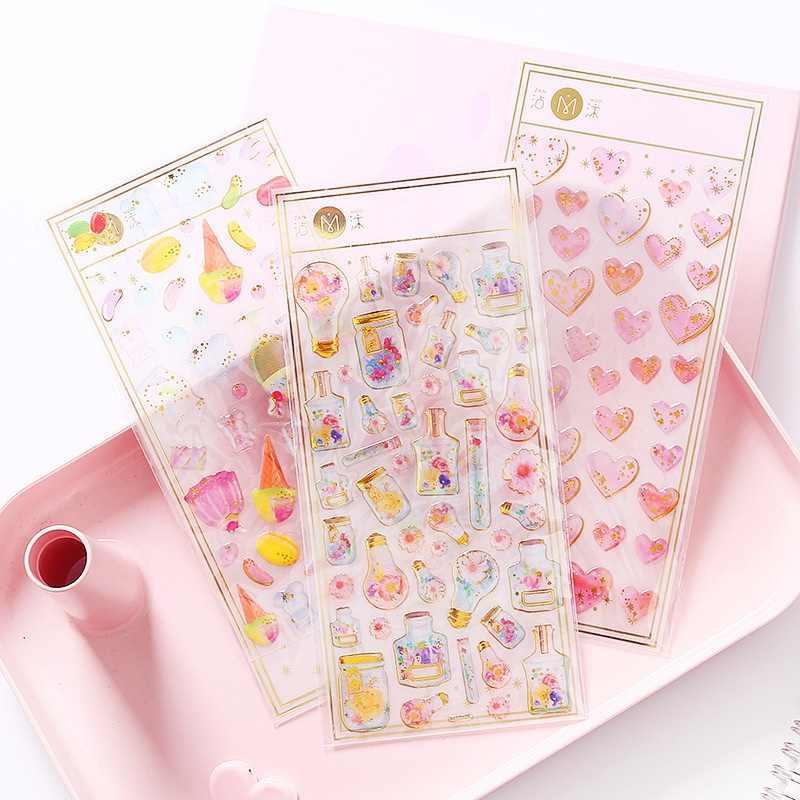 Cute Pattern Design Crystal 3D Stickers Self-Adhesive Decorative Stickers For Kids Mobile Decorations Scrapbooking Diary DIY