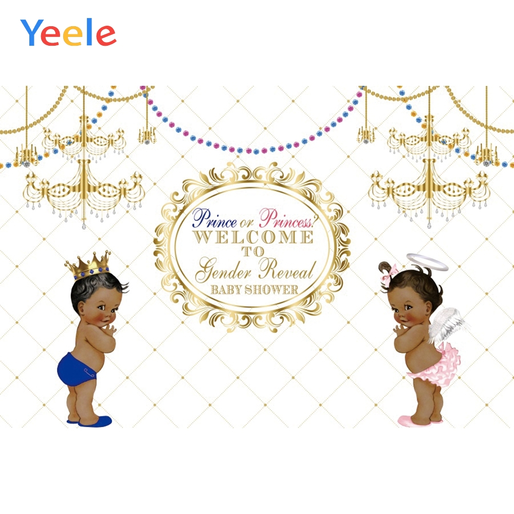 Yeele Gender Reveal Backgdrop Prince or Princess Baby Shower Party Customized Photography Backdrop Blue or Pink Photo Background