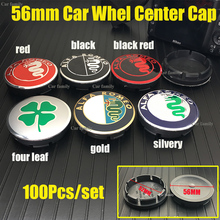 100Pcs/set 56mm 2.2inch ABS base Car Wheel Rim Center Cap Covers Hub fit For Mito 147 156 159 166 Giulietta Spider