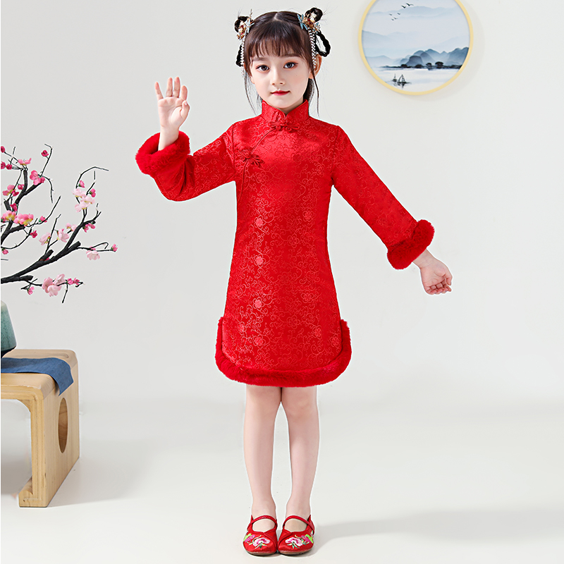 Hanfu Dress For Girls Chinese Traditional Winter Cheongsam Child Folk Dance Stage Performance Clothes Red Hanfu For Kids DQL2903
