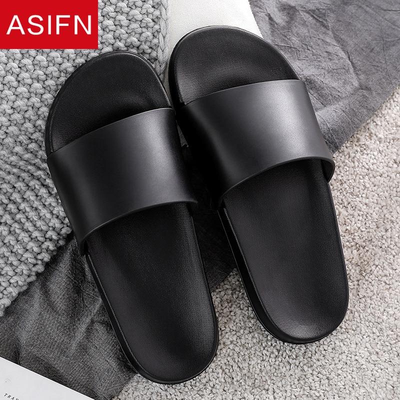 ASIFN Men's Home Slippers Summer Beach Flip Flops Indoor Male Sandals Leisure House Non-slip Shoes Slides Men Zapatos De Hombre