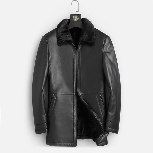 DK Natural Mink Fur Clothing Men Medium Long Winter Warm Leather Genuine Black Slim Sheepskin Leather Jackets