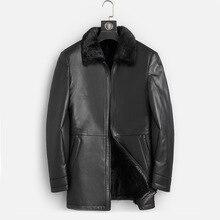 DK Naturale della Pelliccia del Visone Abbigliamento Da Uomo A Medio Lungo Inverno Caldo del Cuoio Genuino Nero Sottile Pelle di Pecora In Pelle Giubbotti