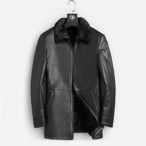 Image 1 - DK الطبيعية فرو منك ملابس الرجال متوسطة طويلة شتاء دافئ جلد طبيعي أسود سليم جلد الغنم سترات من الجلد