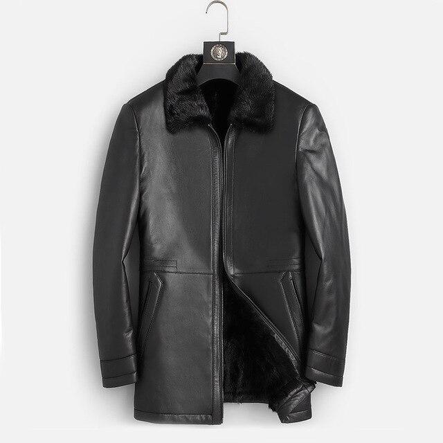 DK الطبيعية فرو منك ملابس الرجال متوسطة طويلة شتاء دافئ جلد طبيعي أسود سليم جلد الغنم سترات من الجلد