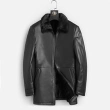 Dk natural vison roupas de pele dos homens médio longo inverno quente couro genuíno preto magro pele carneiro jaquetas couro