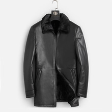Dk自然ミンクの毛皮の服男性ミディアムロング冬暖かい革本物の黒スリムシープスキンレザージャケット