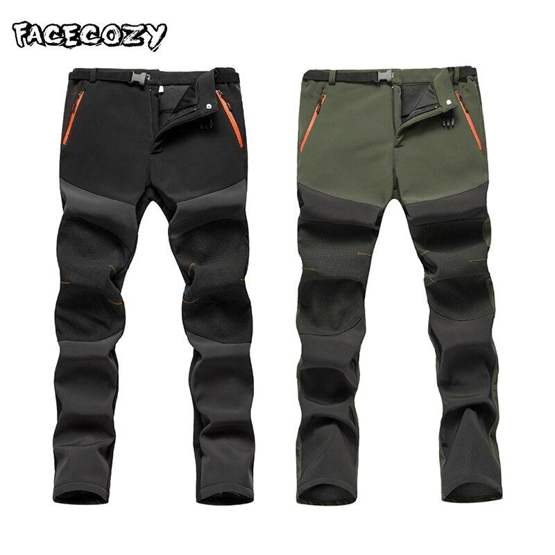 Facecozy Winter Waterproof Pants Men Outdoor Softshell Trekking Pants For Camping Hiking Climbing Fishing Hunting Fleece Pants