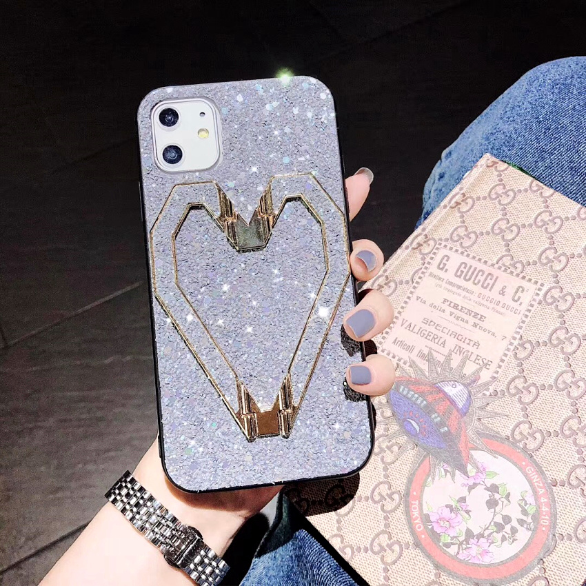 3D Fashion Love Metal Stand Cases For iPhone 11 Pro 11 Pro Max X XR XS MAX 8 7 Plus Luxury Glitter Bling Leather Phone Case Capa (6)