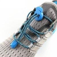 Cordón de bloqueo de estiramiento en 7 colores, un par de cordones de los zapatos de bloqueo zapatilla elástica, cordones de zapatos para correr/trotar/Triatlón