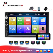 "Amprime universal 2 din carro multimídia player autoradio 2din estéreo 7 ""tela de toque vídeo mp5 player rádio automático câmera de backup(China)"