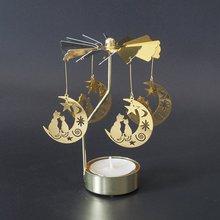 Candelabro de rotación de luna de gato candelabro de vela de mariposa soporte de luz de té DIY mesa de fiesta decoración de escritorio soporte de vela