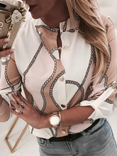 2019 Summer Women New Elegant Trending Leisure Blouse Female Vacation Office Top Chain Print Button Through Casual Shirt(China)