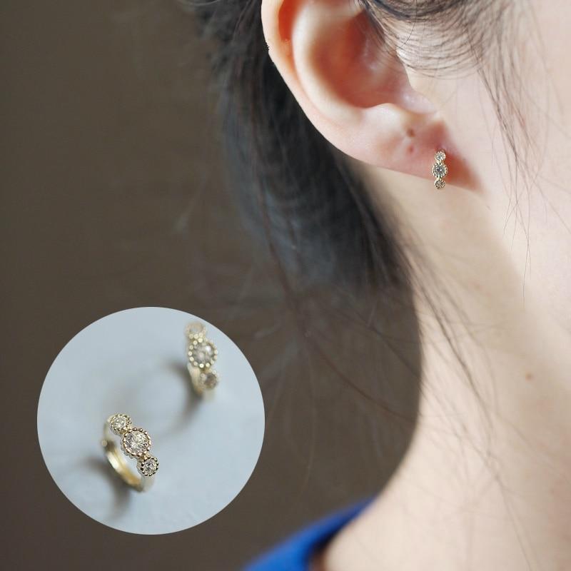 Custom Cake Three Diamond Earrings Pure 9k Gold Small Zirconium Diamond Lovely Temperament Mini Japanese And Korean Earring Hoop Earrings Aliexpress