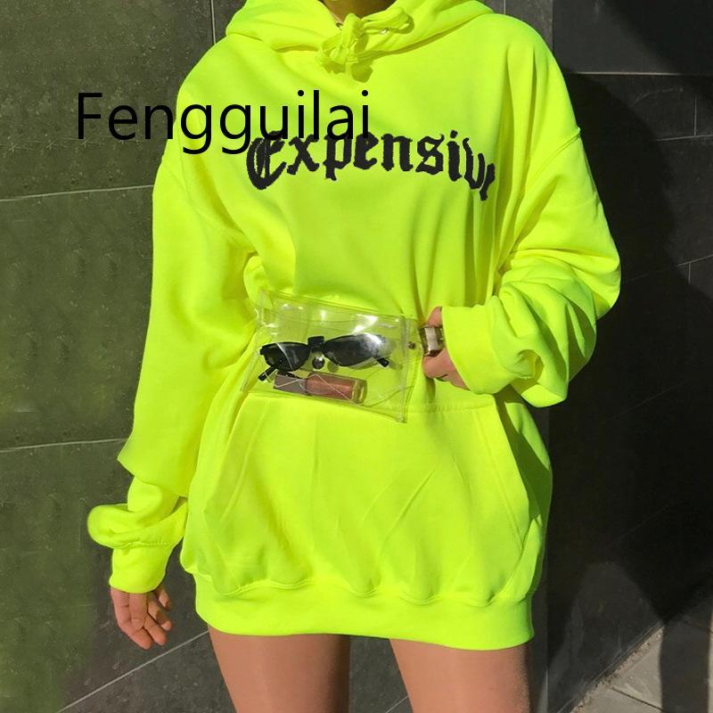FENGGUILAI Spring Autumn Oversized Hoodie Women Letter Female Casual Long Sleeve Pullovers Hoodie Sweatshirts Green Orange Black