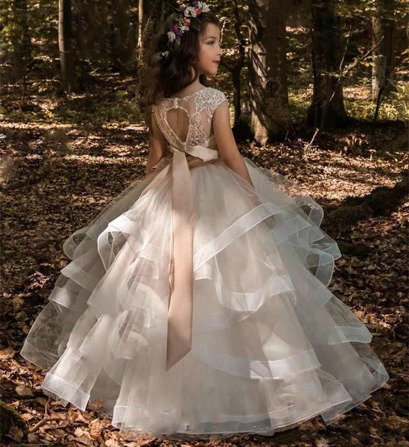 Flower Girl Dresses Blush Pink Princess Tutu Sequined Appliqued Lace Bow Kids Princess Kids Party Birthday Gowns