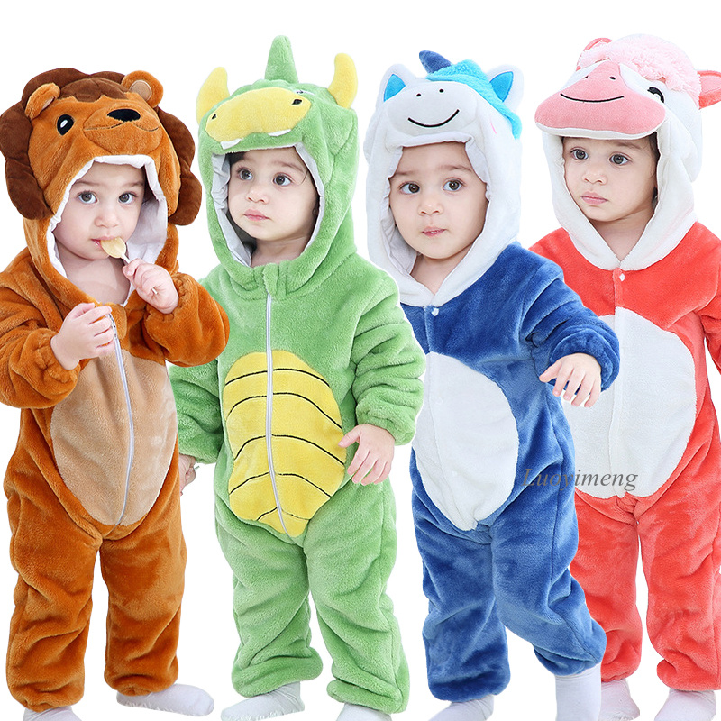 Rompers Overalls Pyjamas Lion-Costume Jumpsuit Infant Animal Kigurumi Toddler Girls Ropa-Bebes