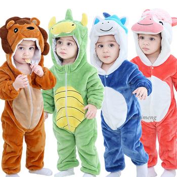 Śpioszki dla niemowląt zima Kigurumi lew kostium dla dziewczynek chłopcy maluch zwierzęcy kostium odzież dla niemowląt piżamy dziecięce kombinezony ropa bebes tanie i dobre opinie LUOYIMENG COTTON CN (pochodzenie) Unisex W wieku 0-6m 7-12m 13-24m Zwierząt baby Z kapturem zipper Pajacyki Pełna romper