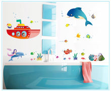 Морская рыба мультфильм наклейка на стену детская комната фон