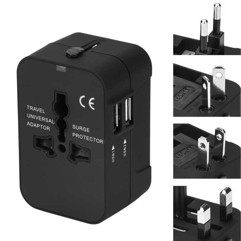 International Universal All in One Worldwide Travel Adapter Wall Charger AC Power Plug Adapter with dual USB ports