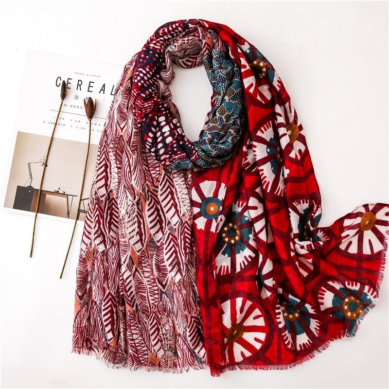 2019 Fashion Bohemian Ethnic Patchwork Tassel Viscose Shawl Scarf Lady High Quality Pashmina Stole Muslim Hijab Sjaal 180*100Cm