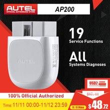 Autel ap200 leitor de código do varredor de bluetooth obd2 com sistemas completos diagnostica o serviço de autovin tpms immo para os diyers da família pk mk808