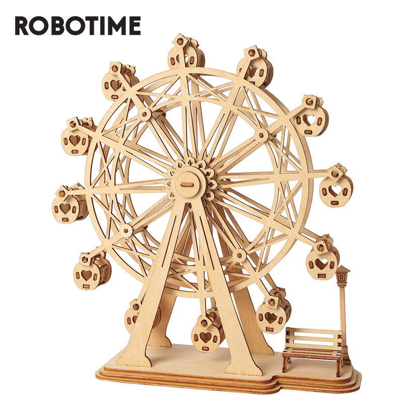 Robotime DIY Ferris Wheel 3D Wooden Puzzle Toy Assembly Model For Children Kids TG401