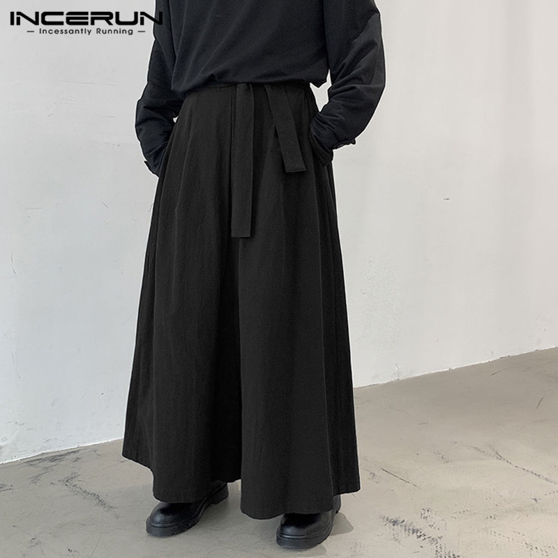 INCERUN Men Wide Leg Pants Joggers Solid Color 2020 Casual Trousers Men Lace Up Vintage Streetwear Baggy Cotton Long Pants S-5XL