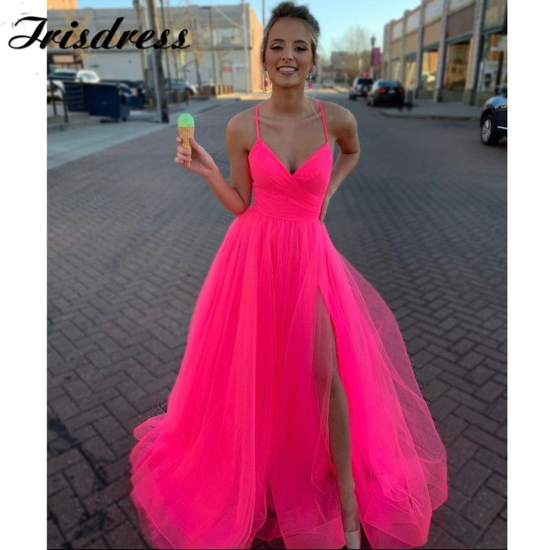 Long Elegant Fuchsia Prom Dresses 2020 Ruffled TuIle Imported Evening Dress With Split Backless Robe De Soiree Free Shipping