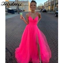 Long Elegant Fuchsia Prom Dresses 2020 Ruffled TuIle Importe