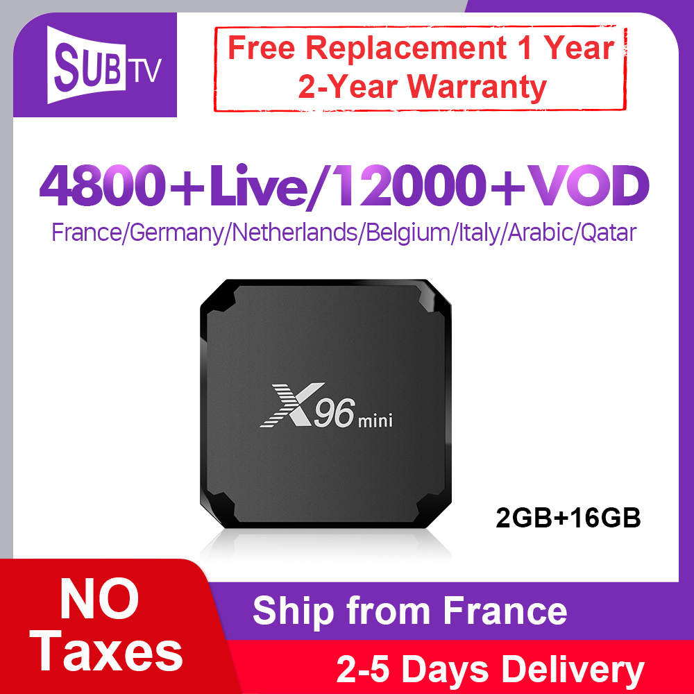 IPTV France espagne X96 Mini Box SUBTV 1 an Code IPTV Android 7.1 S905W 2G 16G français arabe italie UK Portugal IP TV Vod X96mini