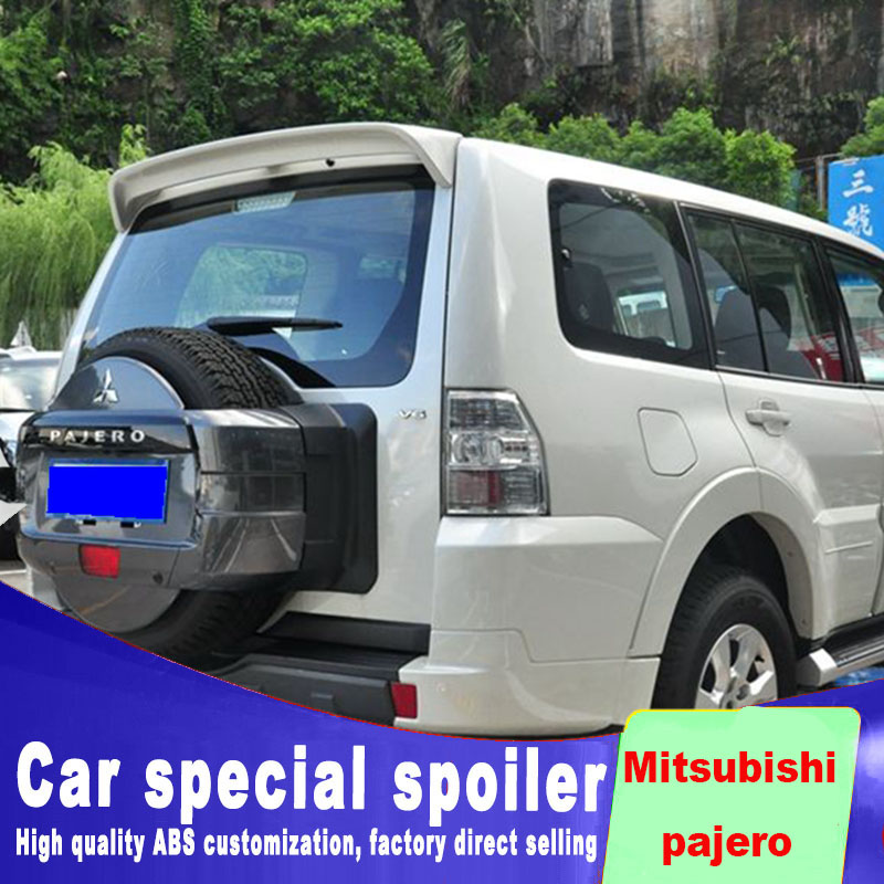 For <font><b>Mitsubishi</b></font> <font><b>pajero</b></font> V73 spoiler 2009 to 2017 high quality ABS material double-clip big spoilers by primer black white paint image