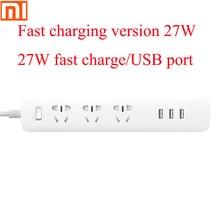 Original Xiaomi plug universal charging source board 6 hole socket electric socket 100 240V/USB 27W fast charging adapter