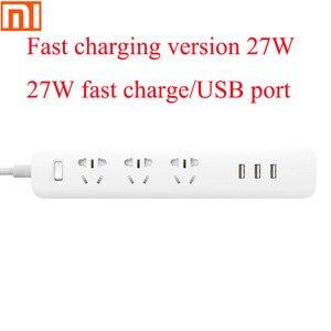 Image 1 - Oryginalny Xiaomi wtyczka uniwersalny źródła ładowania pokładzie 6 dziura gniazdo gniazdo elektryczne 100 240V/USB 27W szybkie ładowanie adapter