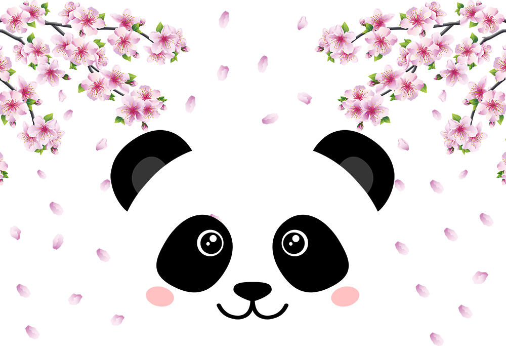 Girl cute Panda themed birthday party backdrop photo booth background home decor wallpaper vinyl poster picture