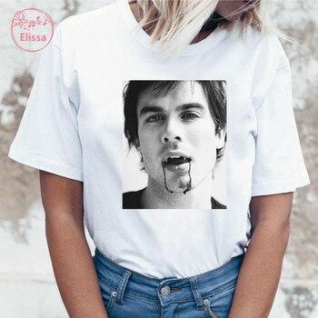 Damon salvatore the vampire diaries Chronicles vampiricas t-shirt tshirt Women T shirt 90s Cool Women T-shirt Streetwear Tops 1