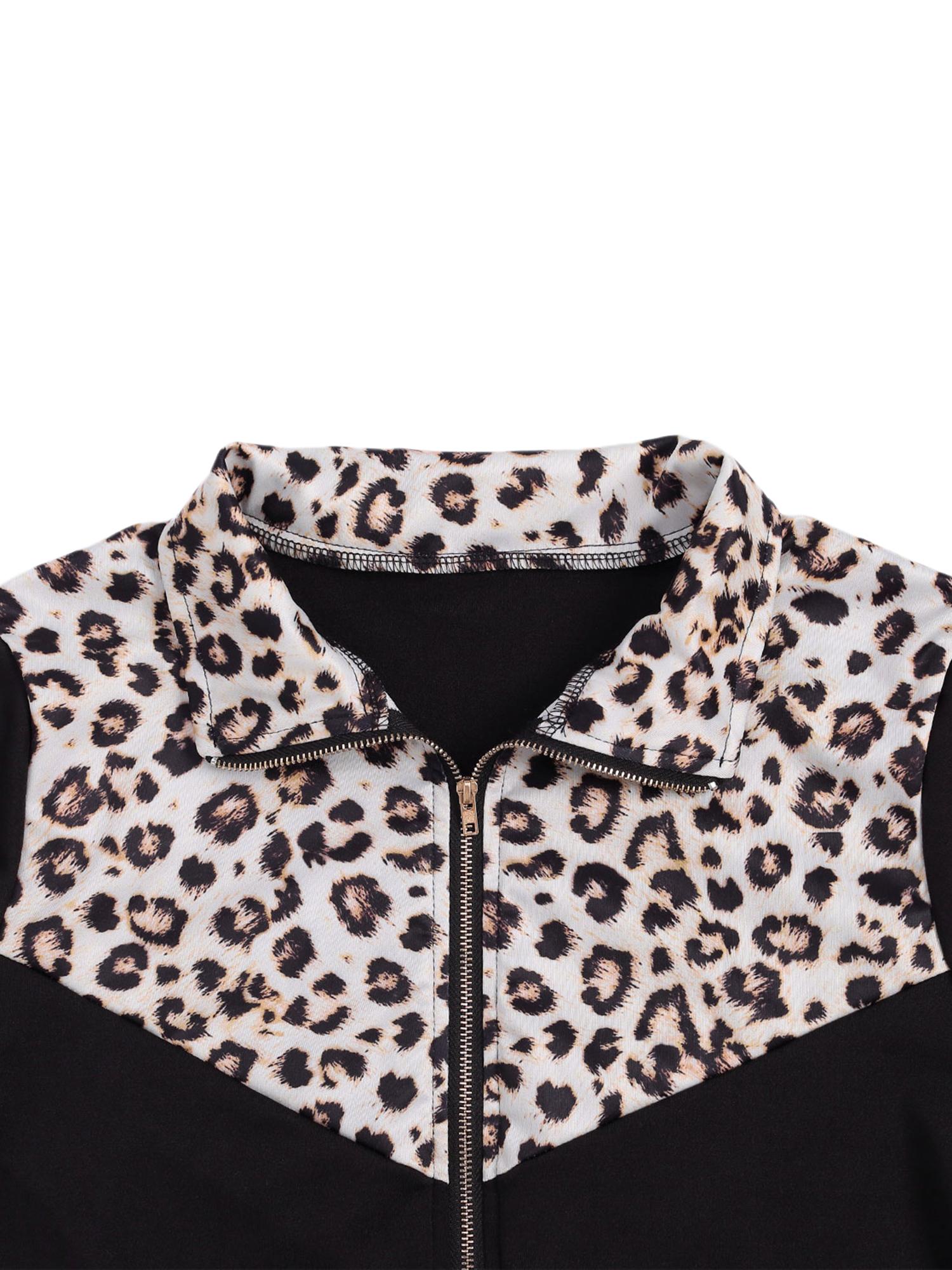 Sportswear Long Sleeve Leopard Zip Top and Long Pants Set